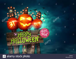happy halloween sign poster decorated with pumpkins and fairy