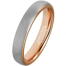 brushed gold wedding band mnh tungsten rings for men women 4mm gold plated brushed