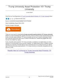 trump university asset protection 101 trump university pdf e