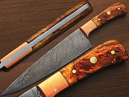 Custom Made Kitchen Knives Amazon Com Custom Made Damascus Steel Chef Knife Olive Wood