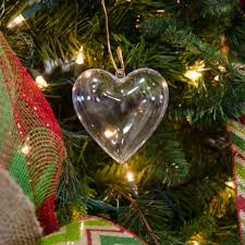 80mm clear fillable heart ornament set of 12 3146 c
