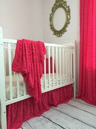 Bright Pink Crib Bedding by Ruffle Crib Skirt Baby Bedding Nursery Decor Many Colors