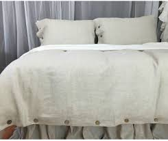 natural linen duvet cover with wood button closure washed