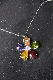 color rhinestone necklace images Single flower pendant necklace with rhinestone silver chain JPG