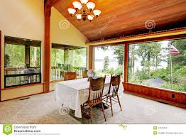 dining room in log cabin house stock photo image 41543079