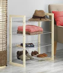 amazon com whitmor wood u0026 chrome 4 tier closet shelf home u0026 kitchen