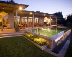 Pool Landscape Lighting Ideas by 28 Foot Infinity Edge Pool With Travertine Coping Tanning Shelf
