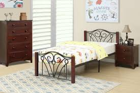 Wood Contemporary Bedroom Set With Metal Legs Poundex Associates F9005t Twin Bed Frame