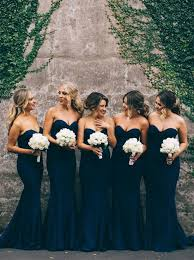 navy bridesmaid dresses gorgeous mermaid navy blue strapless bridesmaid dress