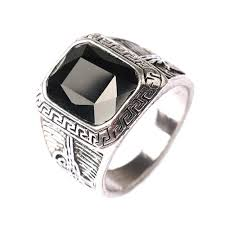 male rings images Silver color men rings big black red carved stone rings for men jpg