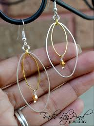silver hoops two tone earrings mixed metal jewelry gold and silver hoops