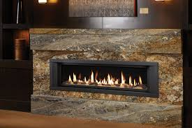 decor elegant linear gas fireplace with granite wall around fireplace
