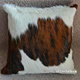Cowhide Pillows Amazon Com Tricolor Cowhide Pillow Home U0026 Kitchen