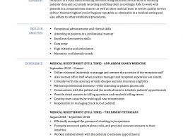 Secretary Resume Templates Medical Receptionist Resume Examples Resume Example And Free