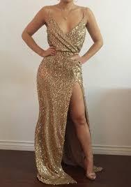 gold maxi dress golden plain sequin bridesmaid v neck spaghetti slit maxi