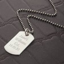 mens engraved necklaces personalised brushed sterling silver dog tag necklace by