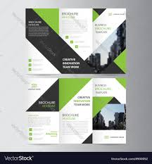 green business trifold leaflet brochure template vector image