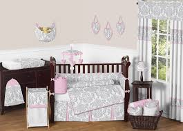 Pink And Gray Crib Bedding Pink Gray And White Elizabeth Baby Bedding 9pc Crib Set By