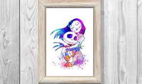 nightmare before christmas home decor nightmare before christmas poster watercolor print jack and