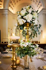 Gold Tall Vases Elegant And Traditional Wedding Reception Décor With Gold And