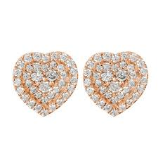 heart shaped earrings mazal diamond 0 58ct f i1 heart shaped diamond stud earrings