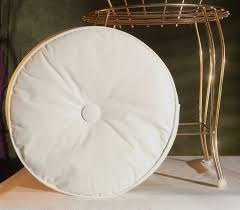 furniture white with one tufted round chair cushions