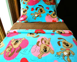 Toddler Bed Quilt Set Girls Bedding Set U0027puppy Love U0027 Girls Handmade Fleece Bed Set Fits