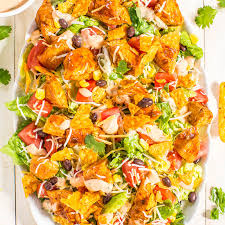 loaded chicken taco salad with creamy lime cilantro dressing