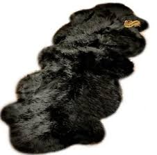Fur Runner Rug Shag Rug Black Sheep Sheepskin Area Rug Carpet Runner