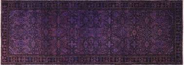 Overdyed Runner Rug 4 X10 Purple Overdyed Runner Knotted Wool Area Rug H9452