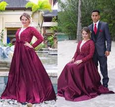elegant perals burgundy prom dresses 2016 with long sleeves women