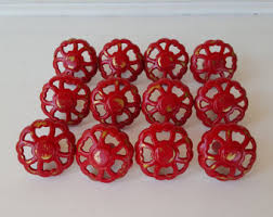 Red Knobs Etsy - Red kitchen cabinet knobs