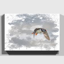 canvas print various size wall art hunting puffin bird v3 ebay