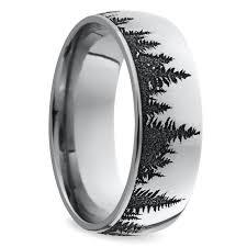 mens wedding bands cobalt laser carved forest pattern s wedding ring in cobalt