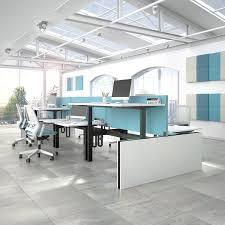 Motion Desk Workstation Desk Powder Coated Steel Melamine Contemporary