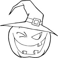 halloween pumpkins wearing witch hat coloring download