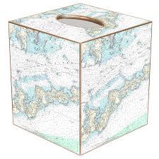 island nautical chart map tissue box cover