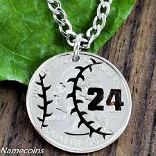 baseball jewelry baseball necklace jersey number jewelry cut coin namecoins