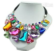crystal necklace stone images Handmade colorful beaded geometric crystal stone pendant necklace jpg
