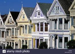 Victorian Houses by Usa San Francisco Row Of Victorian Houses On Steiner Street Stock