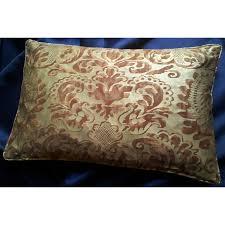 fortuny lumbar throw pillow cushion cover deep burgundy u0026 gold