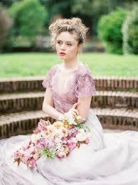 purple lace wedding dress romantic spring english garden wedding