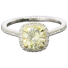 canary engagement rings fancy light yellow canary gold platinum halo ring at 1stdibs