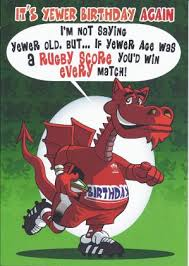 welsh humour card its yewer birthday again welsh humour card