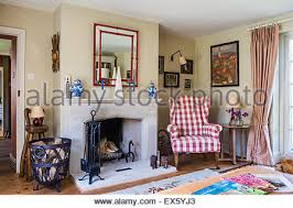 Gingham Armchair Gingham Armchair In Living Room Stock Photo Royalty Free Image