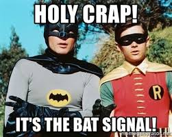 holy crap it s the bat signal batman meme meme generator