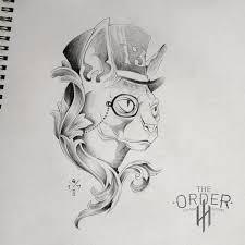 steampunk cat sketch the order custom tattoos