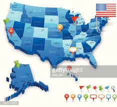 us map by states and cities usa 3d map states cities flag and navigation icons vector