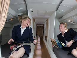 airline cabin crew inside the crew rest compartments where flight attendants and