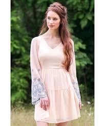 peach bell sleeve embroidered dress cute dress online cute boho